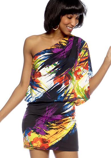 Printed Matte Jersey Blouson Dress