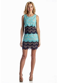 Jessica Simpson Allover Lace Tiered Color-block Shift Dress