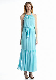 Jessica Simpson Halter Blouson Maxi Dress