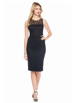 Jessica Simpson Bead Embellished Lace Midi Sheath Dress