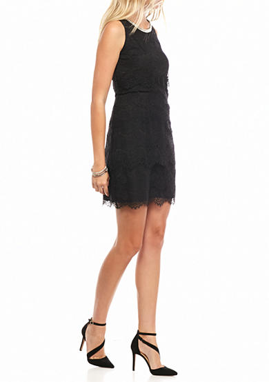 Jessica Simpson Bead Embellished Neckline Tiered Lace Dress