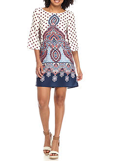 BeBop Knit Medallion Scroll Border Dress