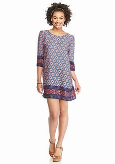 BeBop Elastic Long Sleeve Circle Border Knit Woven Dress