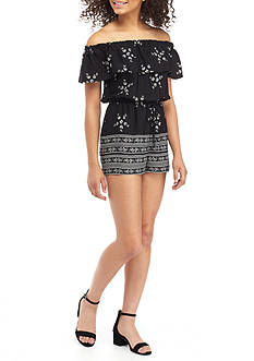 BeBop Ruffle Off The Shoulder Romper