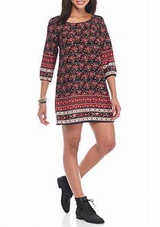 BeBop Elastic Long Sleeve Floral Border shift dress