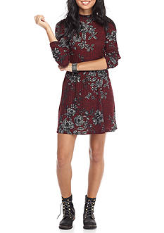 Trixxi Ribbed Floral Dress