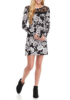 Trixxi Floral Print  Lace Swing Dress