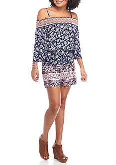 Trixxi Printed Cold Shoulder Romper