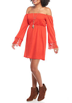 Trixxi Smocked Cold Shoulder Dress