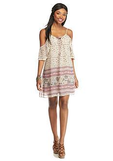 Trixxi Printed Peasant Dress