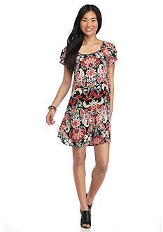 Trixxi Short Sleeve Floral Print Swing Dress