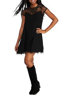 Trixxi Lace Top Shift Dress
