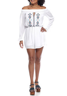 Trixxi Off The Shoulder Embroidered Romper