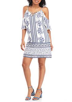 Trixxi Printed Cold Shoulder Dress