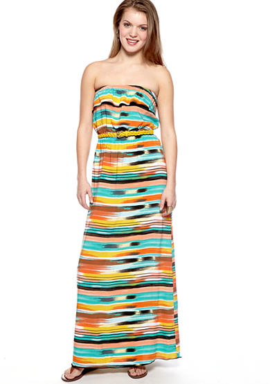Trixxi Multi Stripe Print Strapless Maxi Dress