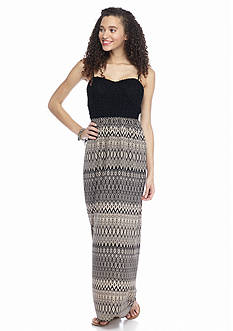 Trixxi Crochet Printed Maxi Dress