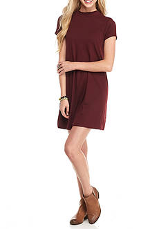 Pink Rose Mock Neck Short Sleeve Swing Dress