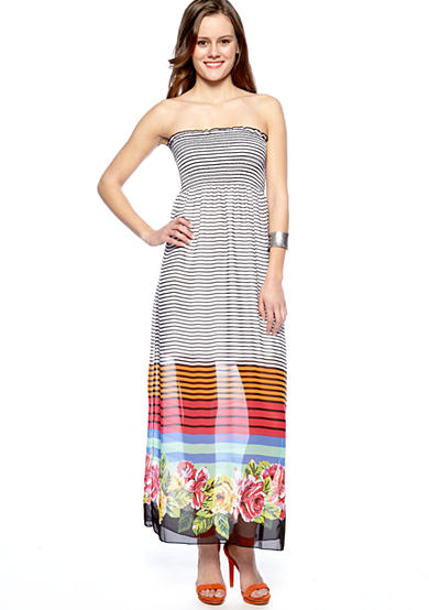 Pink Rose Strapless Stripe Maxi