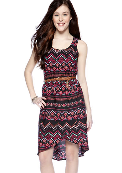 Pink Rose Sleeveless Zig Zag Print Wrap Style Dress