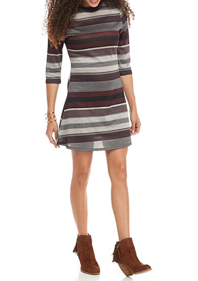 Living Doll Mock Neck Striped Hacci Dress