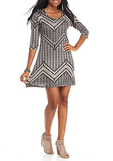 Living Doll Chevron Printed Hacci Scoop Neck Dress