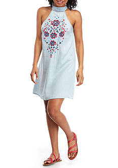 Living Doll Mock Neck Puff Embroidered Dress