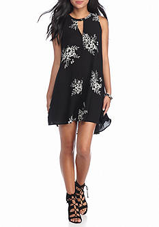 Living Doll Sleeveless Floral Printed Keyhole Neck Dress