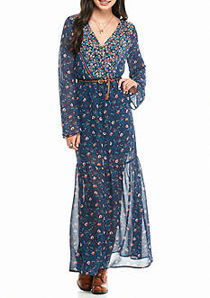 Living Doll Long Sleeve Border Maxi Dress