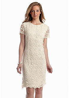 Sharagano Allover Crochet Lace Sheath Dress