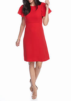 Sharagano Flutter Sleeve Sheath Dress