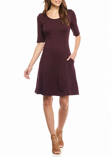 Sharagano Ponte Trapeze Dress with Pockets