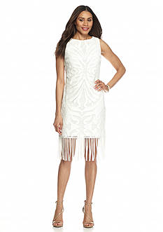 Julia Jordan® Lace Sheath Dress with Tassel Hem