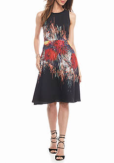 julia jordan Printed Fit and Flare Dress