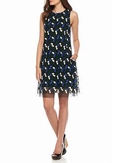 Julia Jordan Embroidered Mesh Trapeze Dress