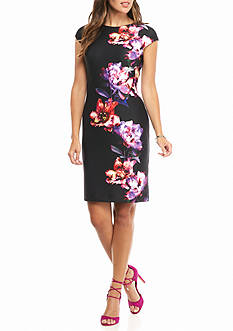 julia jordan Floral Scuba Body-con Dress