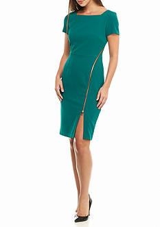 Julia Jordan Zip Front Skirt Sheath Dress