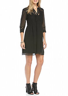 Julia Jordan Crochet Bodice Shift Dress