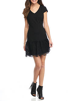 julia jordan Ruffle Lace Hem Dress