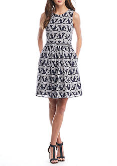Julia Jordan Sleeveless Fringe-Waisted Dress