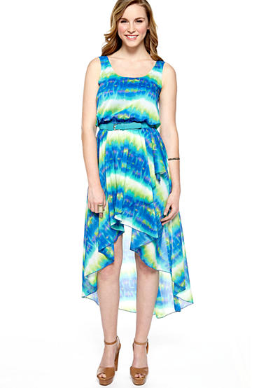 Sleeveless Printed Hi-Lo Belted Dress