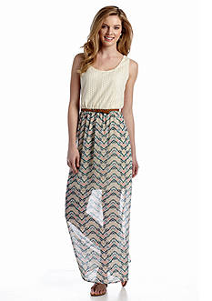 Luxology™ Crochet Tank Belted Maxi Dress