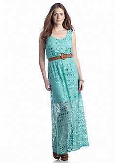 Luxology™ Crochet Belted Maxi Dress
