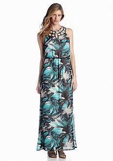 Luxology™ Lattice Neck Printed Maxi Dress