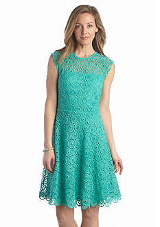 Luxology™ Allover Lace Fit-and-Flare Dress