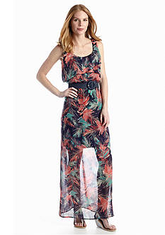 Luxology™ Ruffle Trim Belted Maxi Dress