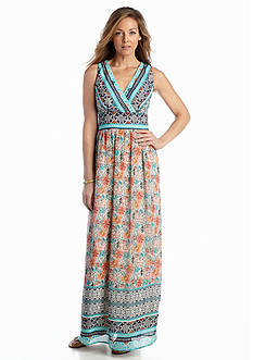Luxology™ Printed Surplice Maxi Dress