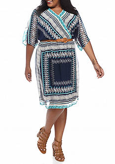 Luxology™ Plus Size Printed Belted Blouson Dress