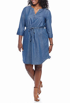 Luxology™ Plus Size Denim Shirt Dress