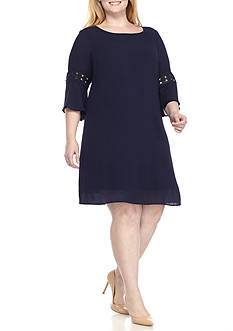Luxology™ Plus Size Bell Sleeve Shift Dress
