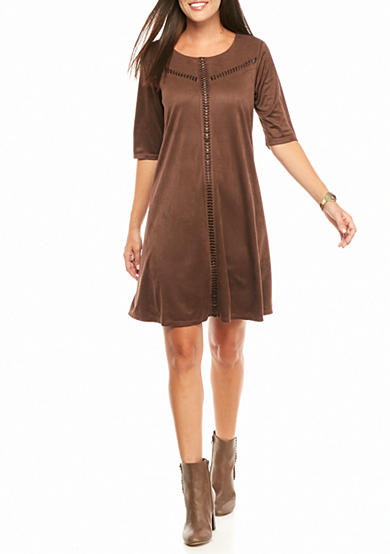 Luxology™ Faux Suede Trapeze Dress